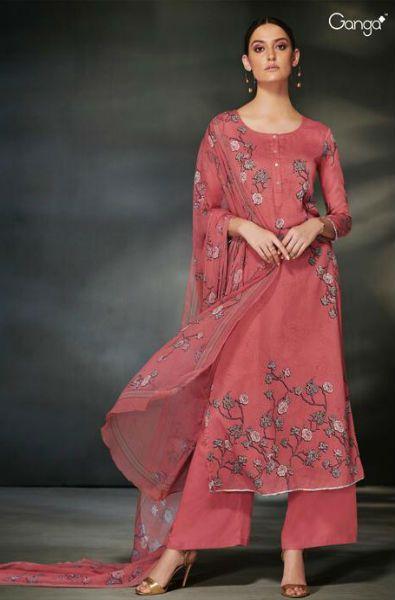 874d30014c Ganga Garnet Cotton Silk Printed With Siroski Work Suit 6341 ...