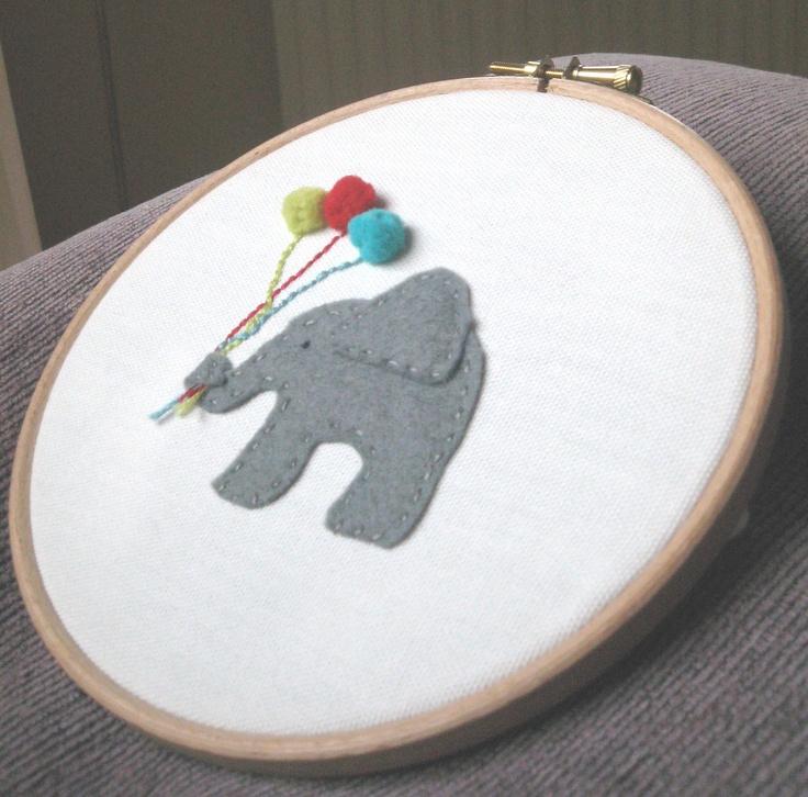 Embroidery Hoop Wall Art - New Baby - Appliqued elephant nursery wall hanging. $18.00, via Etsy.