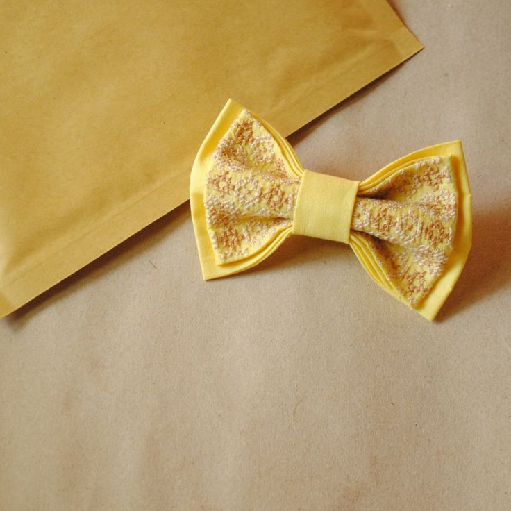 Yellow bow tie for wedding Papillon jaune Wedding bow tie Women's bowties Thanksgiving gift ideas Xmass Photography session Tie with tracery by accessories482 on Etsy