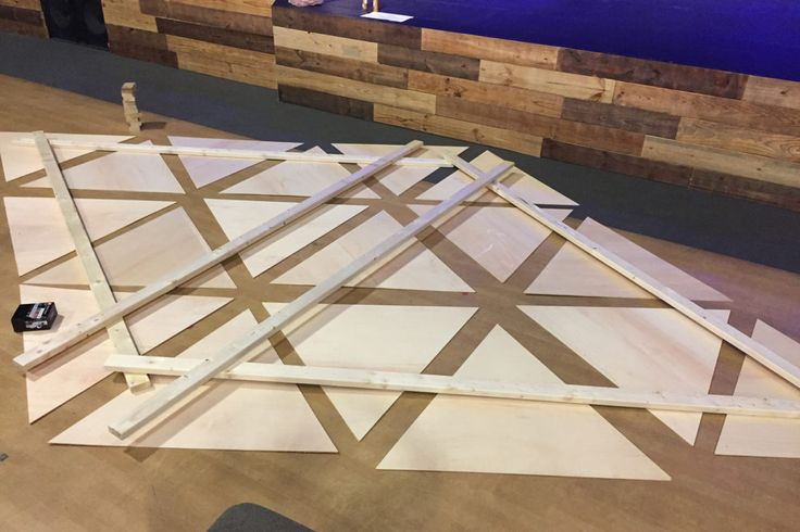 Justin Michal from Carolina Forest Community Church in Myrtle Beach, SC brings us this awesome use of projection. Materials: 6 - sheets of furniture grade 3/8' plywood (commonly used in cabinetry) 8 - 12 foot 2x4's Lot's of heavy duty velcro strips (or liquid nails if you're confident in your spacing) About 30 or so 7 inch spacers (I made out of 2x4's on a chop saw) White enamel paint and roller Heavy chain or cable for hanging 4 - 6 inch eye bolts screw lock chain li...