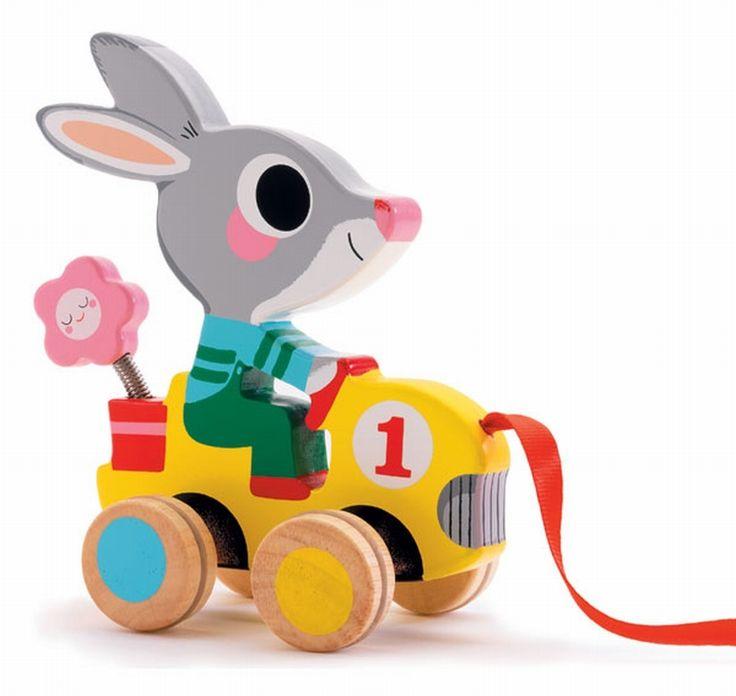 Little #rabbit pull #mobile by #Djeco from www.kidsdinge.com https://www.facebook.com/pages/kidsdingecom-Origineel-speelgoed-hebbedingen-voor-hippe-kids/160122710686387?sk=wall #kidsdinge