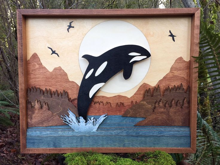 """Our love of the Pacific Northwest led us to create our newest work - a beautiful Orca in this 10 layer 3D Wood Shadow box.  We are creating larger more impactful works currently.  This measures 25""""x20""""x1.5.  We are constantly designing and welcome custom work!"""