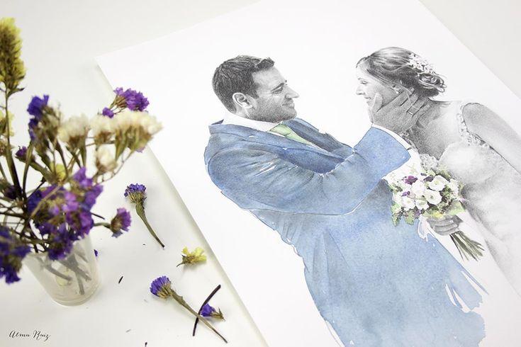 Retrato de boda de pareja realizado a lápiz y acuarela. Wedding portrait. Pencil drawing and watercolor portrait