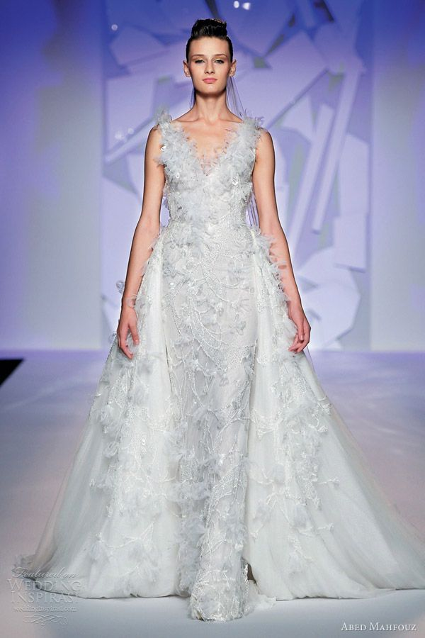 abed mahfouz fall 2012 couture wedding dress  Ditch the feathers and this would be gorgeous.  overskirt is perfect