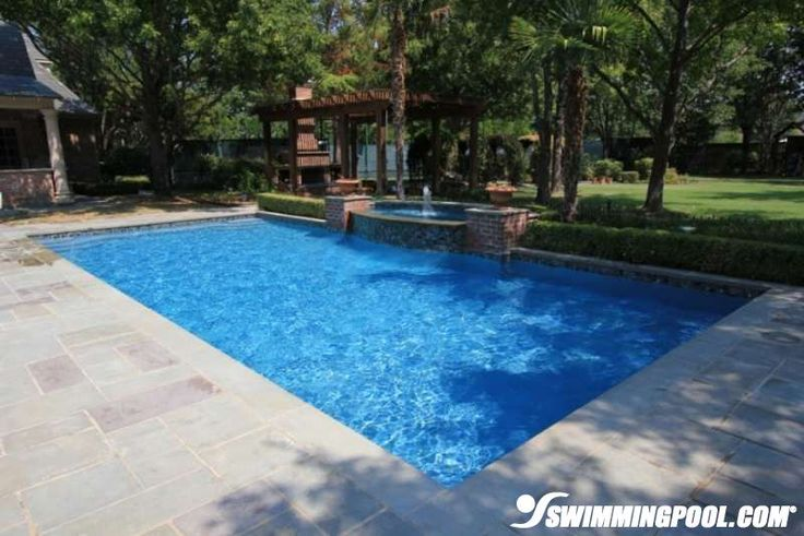 Square Swimming Pool With Fountain Cool Pools