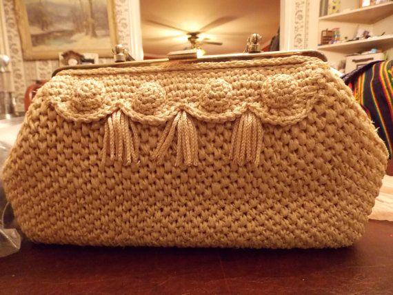 1960's Raffia Purse with Carved Plastic Handles