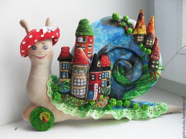 Купить Улитка - Городок - зеленый, улитка, улитка Тильда, интерьерная кукла, улиточка, улитка в подарок