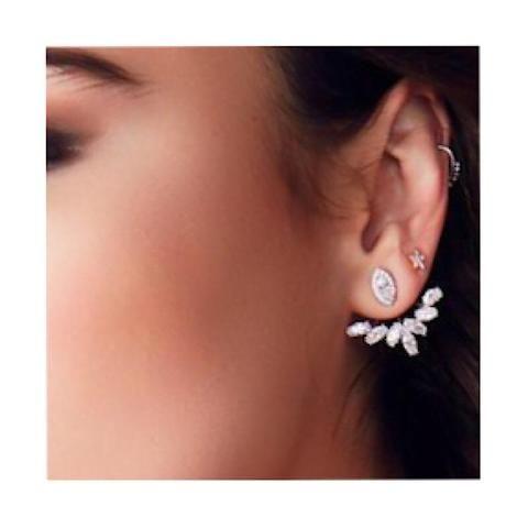 Karina Ear Jacket Flower Earrings #earjackets #earrings #jewelry ear jackets earrings trendy front back diamond ear jackets