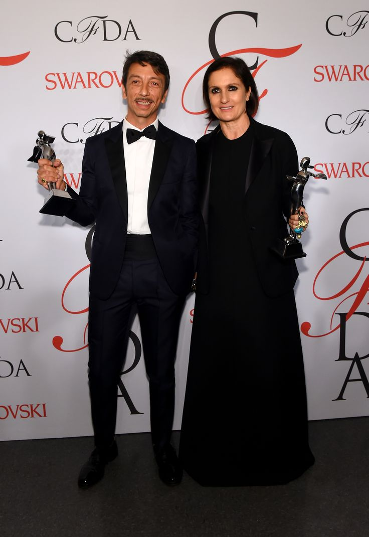 Valentino's Creative Directors Pierpaolo Piccioli and Maria Grazia pose on the winners walk at the 2015 CFDA Fashion Awards at Alice Tully Hall at Lincoln Center on June 1, 2015 in New York City.