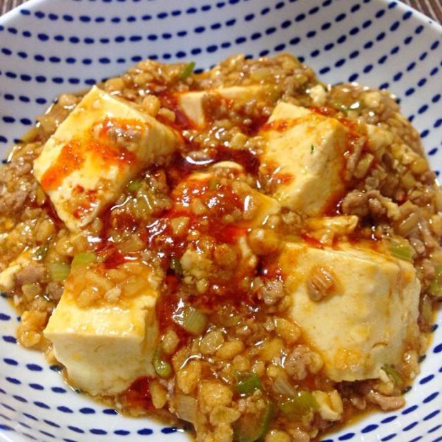 ひき肉の代わりにそぼろ状のこうや豆腐を使いました(^-^)仕上げにみんみんのラー油をかけて♪ - 33件のもぐもぐ - ダイエットこうやを使った麻婆豆腐 by machiruda11