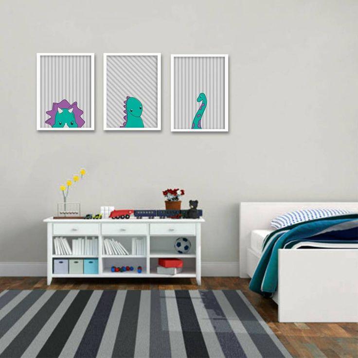 Composição de Poster/Quadro para Criançascom 3 itens - Dinossauros Listras - Just Lia