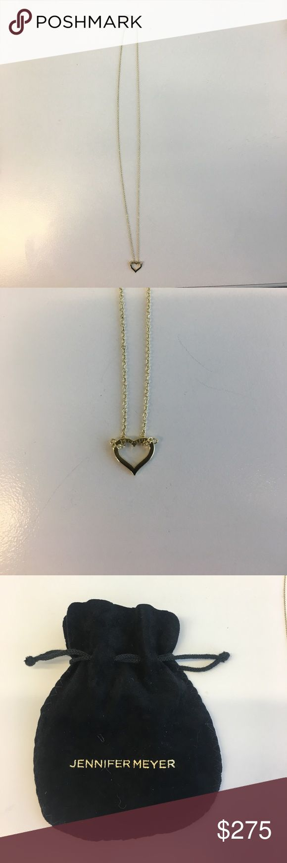 """Jennifer Meyer gold open heart necklace Delicate 18 kt yellow gold open heart that hangs from 14 kt 16"""" yellow gold chain.  Perfect for layering! Jennifer Meyer Jewelry Necklaces"""