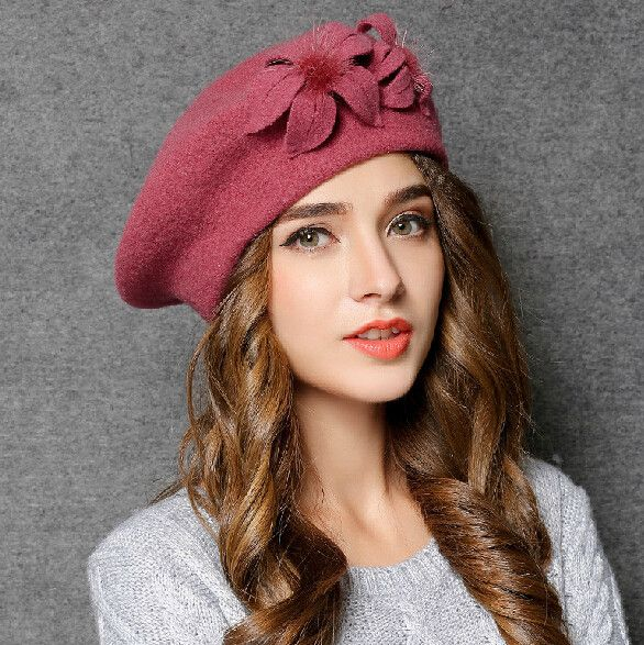 Handmade flower beret hat wool winter fisherman hats for women vintage  style  089339bf179d
