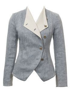 Crossover Blazer pattern: I'd make it in a dark gray or blue, and put some cheerful calico on the collar.