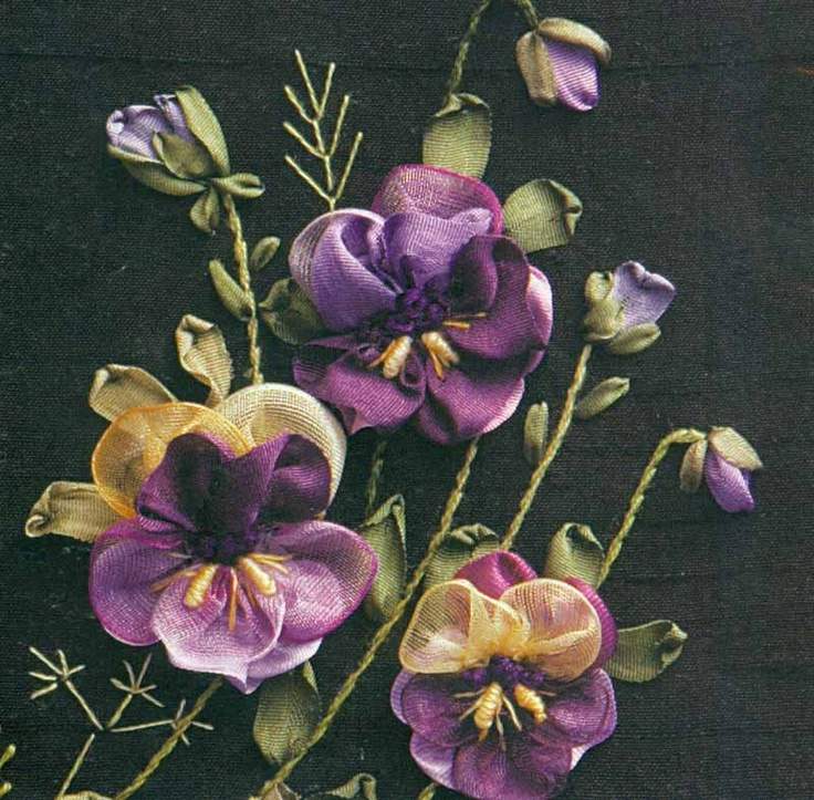 312 best silk ribbon embroidery creations images on pinterest silk ribbon pansies mightylinksfo