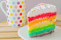 Sorprende a tus invitados y al cumpleañero con este colorido pastel arcoíris cubierto con una deliciosa crema chantilly. La receta de Pastel de arcoíris de cumpleaños es fácil, rica y muy lucidora, perfecta para llevar como postre de cumpleaños.