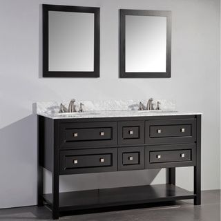 espresso finish marble top 60inch double sink bathroom vanity with dual matching framed mirrors