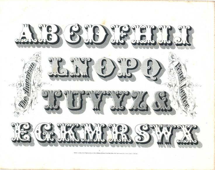 ANTIQUE PRINT VINTAGE 1800s TYPOGRAPHY LETTERING BOOKLEAF