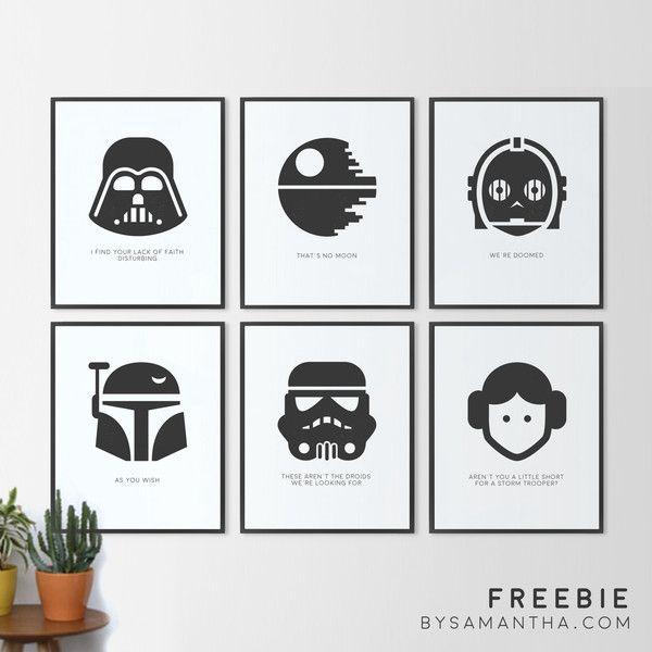 """6 8x10"""" Free Star Wars Minimalist Printables"""