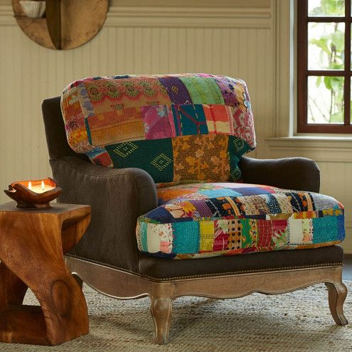 Vintage Kantha Upholstered Chair   Recycled Fabric   VivaTerra22 best Kantha upholstery images on Pinterest   Upholstery  . Funky Chairs For Living Room. Home Design Ideas