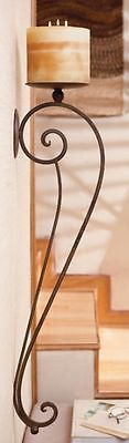 """Large TUSCAN S/2 Scrolled Wrought Iron WALL CANDLE HOLDER SCONCE Pair 34""""L NEW 0"""