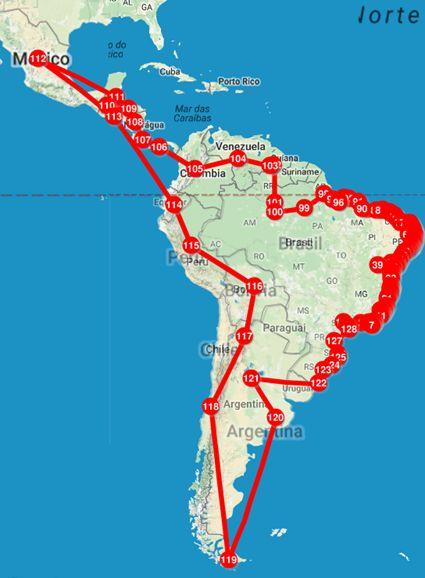 Boa noite amigos e amigass!  Pra mim é bem claro o roteiro de minha viagem mas alguns talvez não saibam: estou dando a volta na América Latina!  Meu primeiro objetivo é chegar no México. Depois vou descer a costa do Pacífico até o Ushuaia na Argentina!!!  Isso em dois ou anos (ou mais se eu encontrar um amor uma divida ou o bico dos sonhos). =)  Agora estou em Recife mas da pra saber quase em tempo real onde estou. É só acessar este mapa:  http://ift.tt/2fr2Jkm  #motoemochilabrasil
