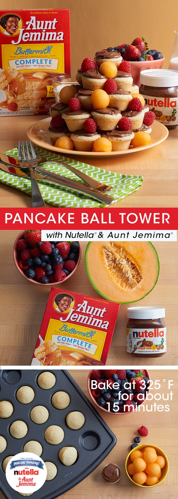 The way to anyone's heart this February? Definitely a pancake ball tower with Nutella®. Grab your Aunt Jemima® pancake mix and prepare a batch of batter. Fill a mini muffin tin and bake at 325˚F for 15 minutes or until cooked through. Once the pancake balls are spread with Nutella, you're ready to build. As you stack, feel free to add in fresh fruit for some color. Have fun with it!