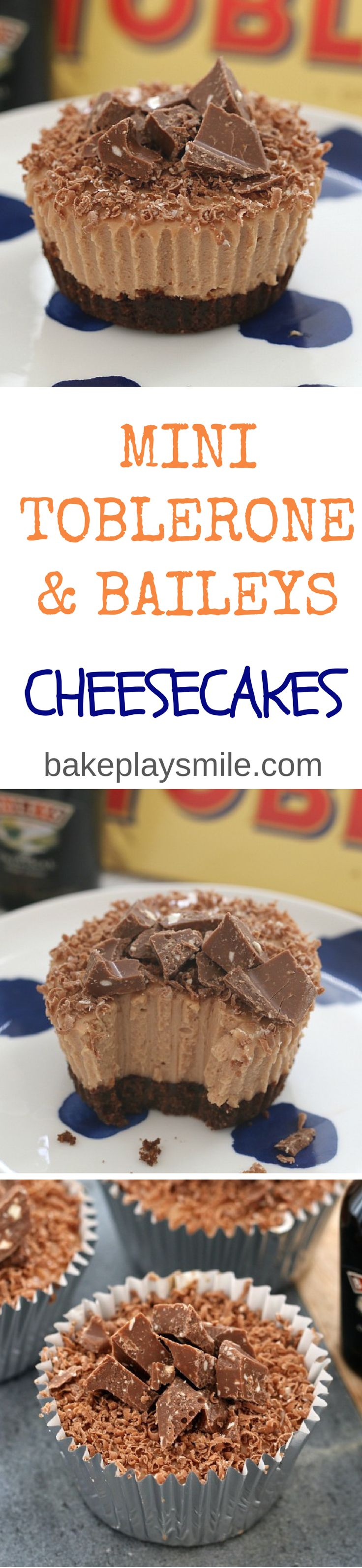 These Mini Toblerone & Baileys Cheesecakes are so naughty… and totally delicious! Best of all, they're completely no-bake!  #toblerone #baileys #nobake #cheesecake #cheesecakes #easy #delicious #chocolate #Thermomix #conventional #recipe #party
