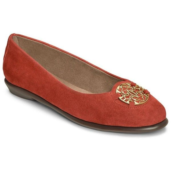 Aerosoles Exhibet Suede Ballet Flats (€72) ❤ liked on Polyvore featuring shoes, flats, orange, ballet shoes, orange flats, ballerina pumps, slip on flats and aerosoles shoes