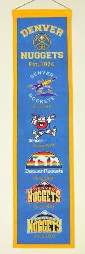"""Denver Nuggets Official NBA 8"""""""" x 32"""""""" Heritage Banner Flag Nuggets Winning Streak"""