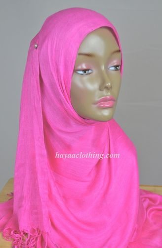 Viscose Soft Lightweight Shayla Rectangle Long Hijab - Hot Pink