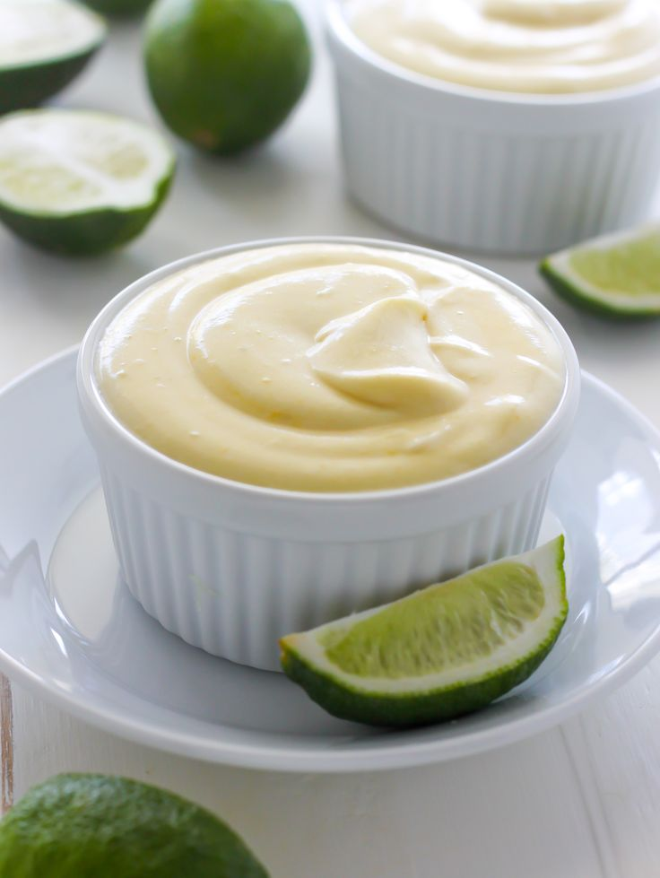 Creamy Key Lime Pudding. Will try without confectioners sugar and using coconut palm sugar for the granulated.