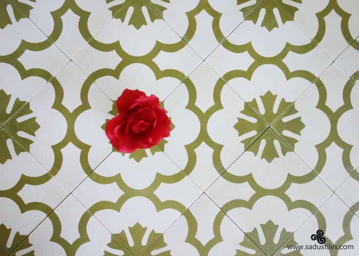 This color combination and design in Sadus Tiles handmade cement tiles from Bali, brings the sun in your house.