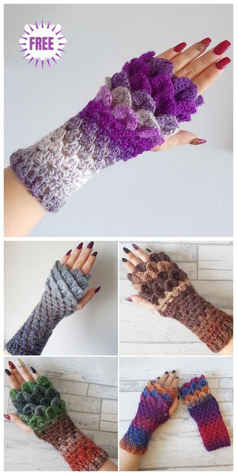 Crochet Dragon Scale Gloves Free Pattern | Crochet | Ganchillo ...