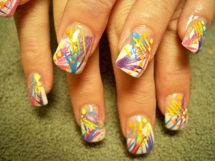 lines acrylic 2 nail design