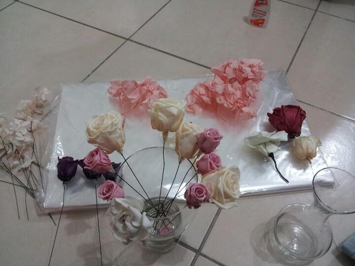 Preparação de Bouquet de flor natural preservada