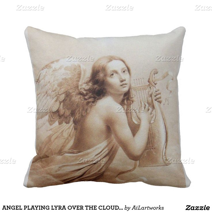 ANGEL PLAYING LYRA OVER THE CLOUDS brown Throw Pillow