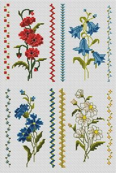 Cross-stitch Floral Bookmarks... no color chart available, just use the pattern chart as your color guide.. or choose your own colors...
