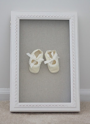 heirloom baby gift - frame bonnets, shoes and Christening gowns for a special gift
