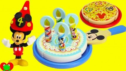 Mickey Mouse Club House Wooden Pizza and Birthday Cake Set.