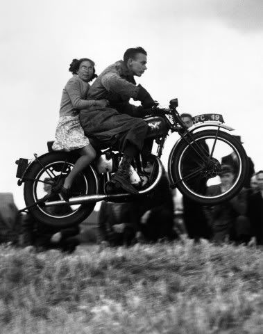 Woman clings to rider in motorcycle jump. #Funny #Retro #Vintage #Motorcycle