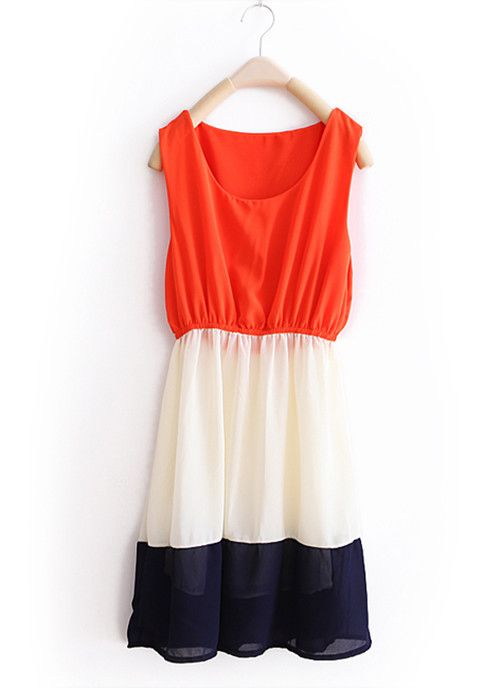 Orange-red Stripe Patchwork Chiffon Tank Dresse.
