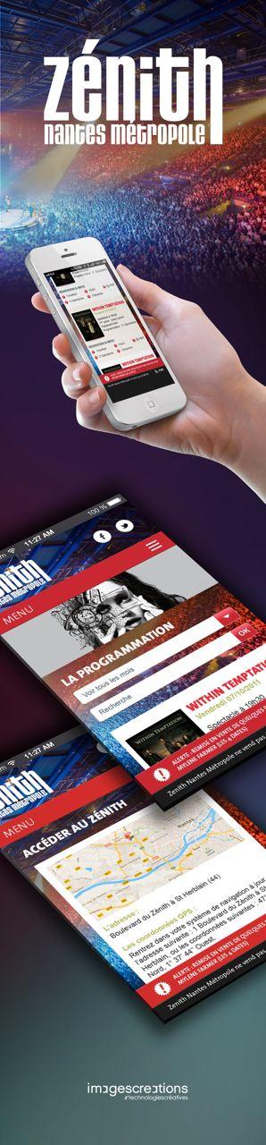 Zenith de Nantes, le site mobile ! (Réalisation Agence Web & Mobile wwwimagescreations.fr)