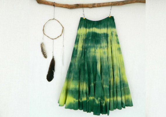 FOREST DWELLER . women's tie dye long skirt . by bohemianbabes