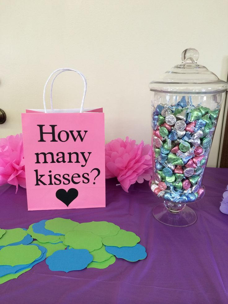 Love is Sweet bridal shower-winner gets kisses jar.
