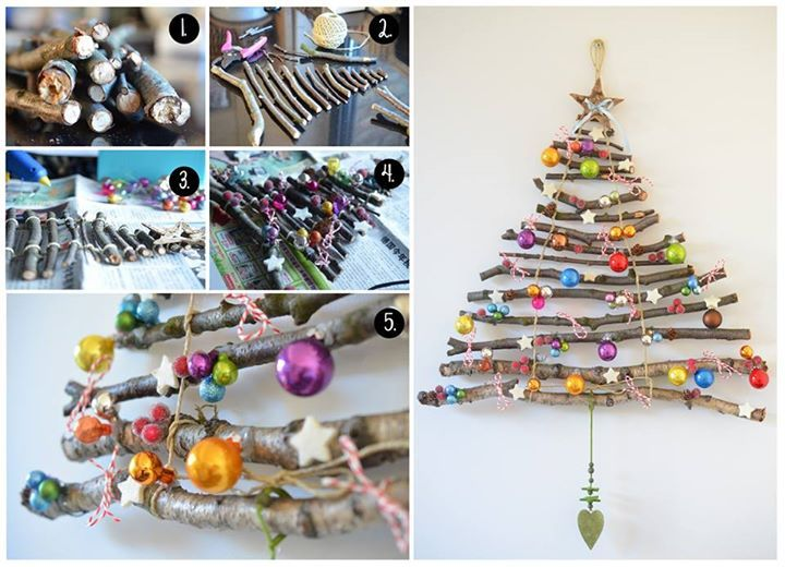 This homemade Christmas Tree is really quick and easy to make from tree branches and string.