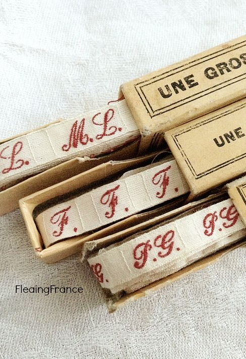 Vintage French Monogram Ribbon
