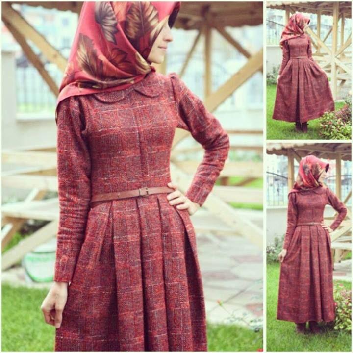 claretred hijab dress maxi turkish muslim girls islamic fashion