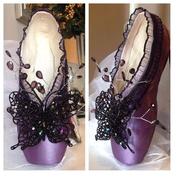 Maleficent   Disney Inspired Decorated Pointe by FantaisieDesigns, $50.00