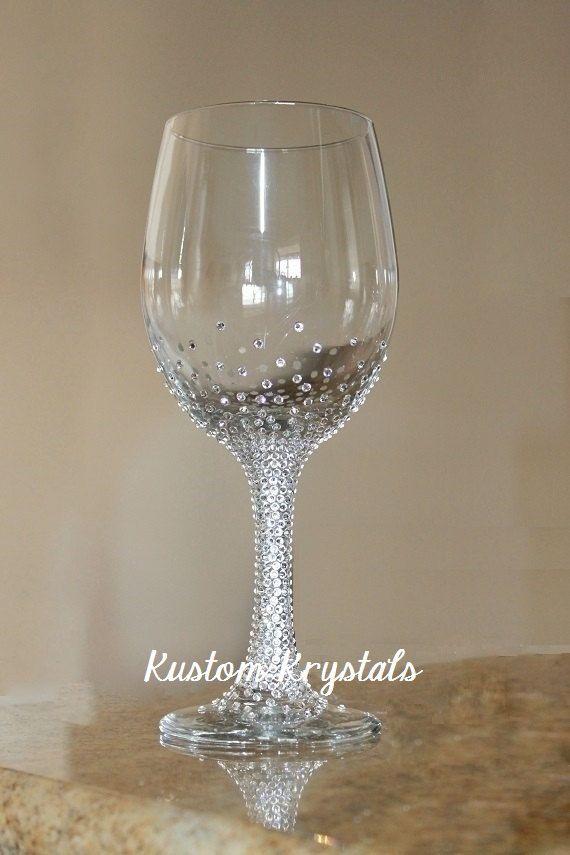 Swarovski Crystal embellished wine glass. Gradient Design. Bride Glass, bridesmaids, bachelorette, Mother of the Bride, weddings. by KustomKrystals on Etsy https://www.etsy.com/listing/214094979/swarovski-crystal-embellished-wine-glass